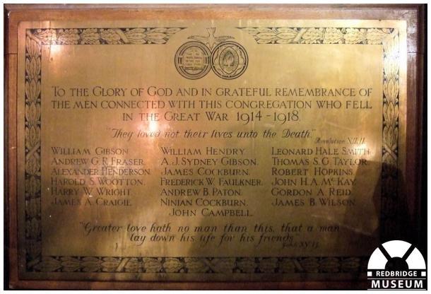 Ilford Presbyterian Church Memorial Plaque. Photo by Redbridge Museum.