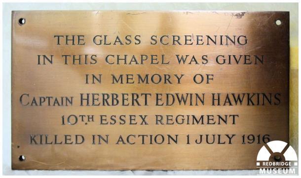 Herbert Edward Hawkins Memorial Plaque. Photo by Redbridge Museum.