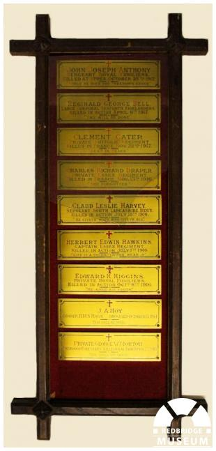 St Clement's Church Memorial Plaques. Photo by Redbridge Museum.