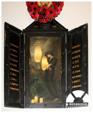 St Peter's Church Memorial Triptych. Photo by Redbridge Museum.