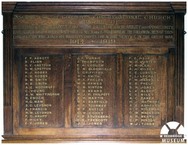 Goodmayes Congregational Church Roll of Honour. Photo by Trevor Cottrell.