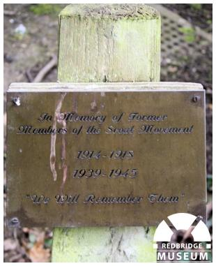 Ilford Scouts Memorial Cross. Photo by Redbridge Museum.