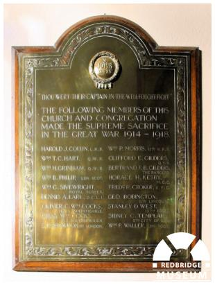 Seven Kings United Methodist Free Church Memorial Plaque. Photo by Redbridge Museum.