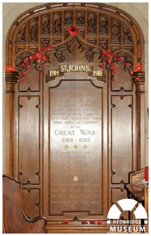 St John's Church Memorial Panels. Photo by Redbridge Museum.