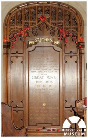 St John's Church Memorial Panels. Photo by Redbridge Museum.