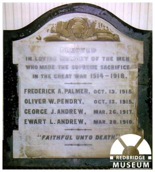 Seven Kings Baptist Church Memorial Tablet. Photo by Frances Speakman.