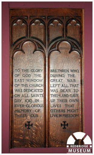 St Clement's Church Memorial Windows. Photo by Redbridge Museum.