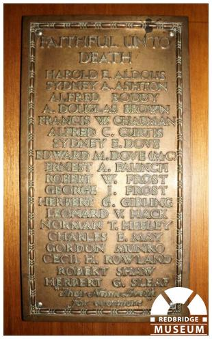 Ilford High Road Methodist Church Memorial Plaque. Photo by Martin Fairhurst.