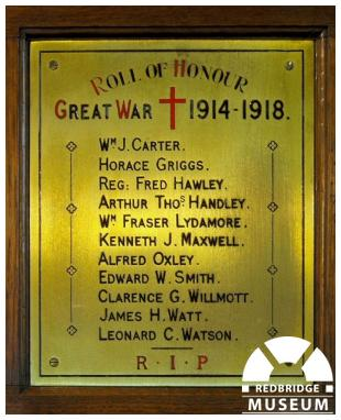 Ilford Hospital Chapel Memorial Plaque. Photo by Pat O'Mara.