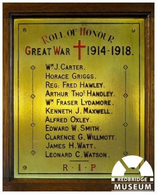 Ilford Hospital Chapel Memorial Plaque. Photo by Pat O'Mara.