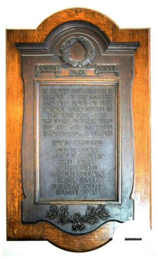 South Park School Memorial Plaque. Photo by Pat O'Mara.