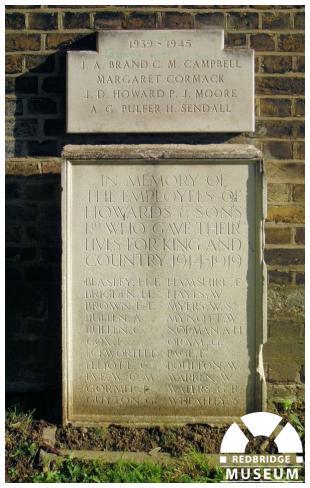 Howards and Sons Memorial Tablet. Photo by Pat O'Mara.