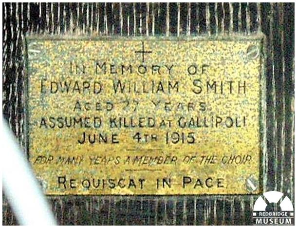 Edward W Smith Memorial Plaque. Photo by Pat O'Mara.