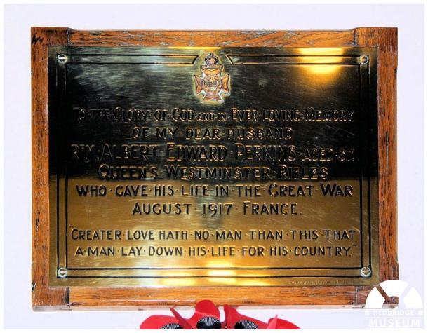 Albert Edward Perkins Memorial Plaque. Photo by Redbridge Museum.