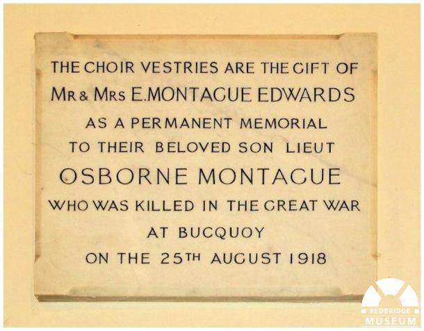Osborne Montague Edwards Memorial Vestries and Tablet. Photo by Redbridge Museum.