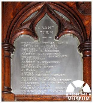 St Mary The Virgin Church Plaque Memorial Plaque. Photo by Redbridge Museum.