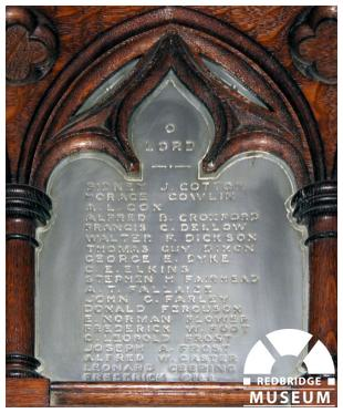 St Mary The Virgin Church Plaque Memorial Plaque. Photo by Redbridge Museum.