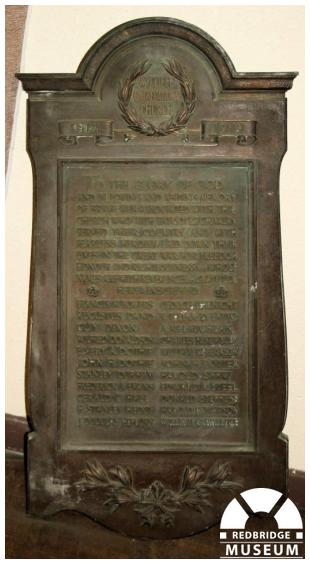 Wycliffe Congregational Church Memorial Plaque. Photo by Redbridge Museum.