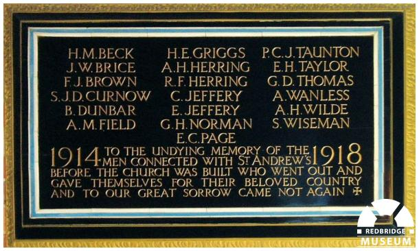St Andrew's Church Memorial Tablet. Photo by Pat O'Mara.
