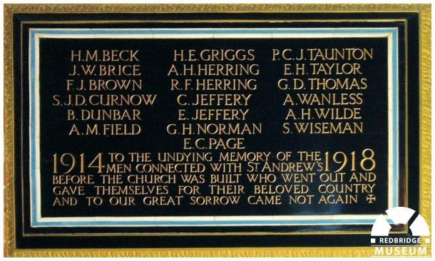 St Andrew's Church Memorial Tablet. Photo by Pat O'Mara.