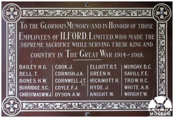 Ilford Limited Memorial Plaque. Photo by Pat O'Mara.
