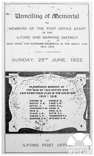 Ilford Post Office Memorial Plaque. Photographer Unknown.