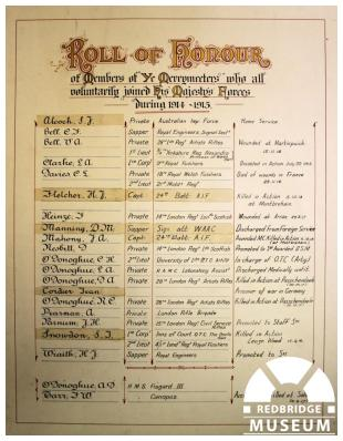 Merrymeeters Roll of Honour. Photo by Redbridge Museum / Information and Heritage.