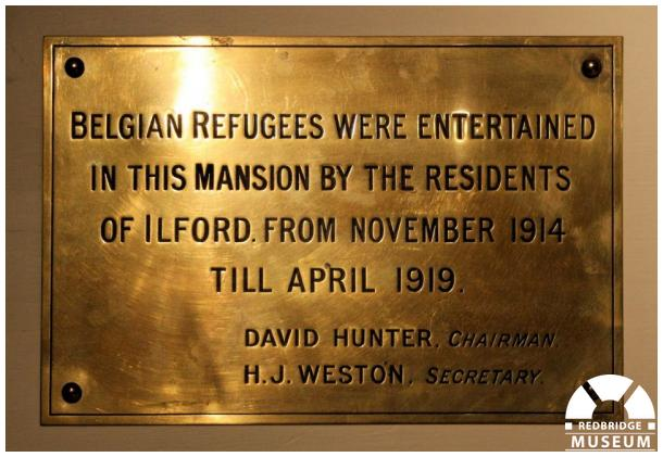 Belgian Refugees Memorial Plaque. Photo by Redbridge Museum.