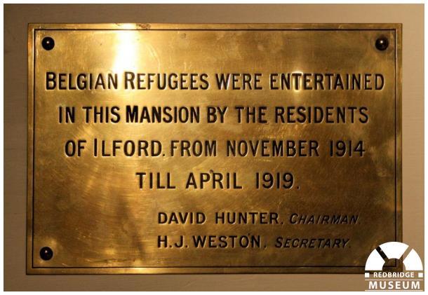 Belgian Refugees Memorial Plaque. Photo by Redbridge Museum.
