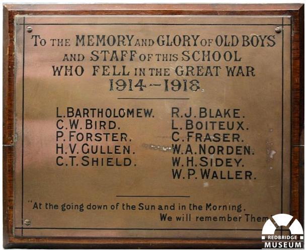 Clark's College Memorial Plaque. Photo by Redbridge Museum.