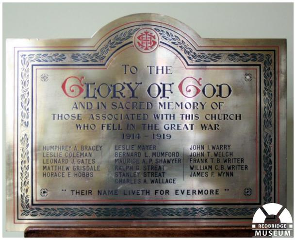 Cranbrook Wesleyan Church Memorial Plaque. Photo by Redbridge Museum.