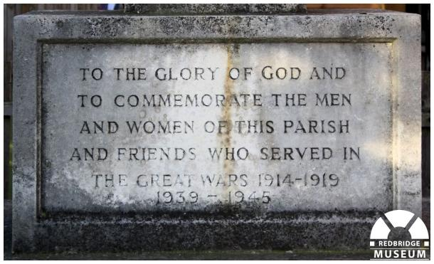 St Paul's Church Memorial Cross. Photo by Redbridge Museum.