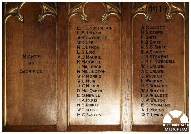 All Saints' Church Memorial Screen. Photo by Redbridge Museum.