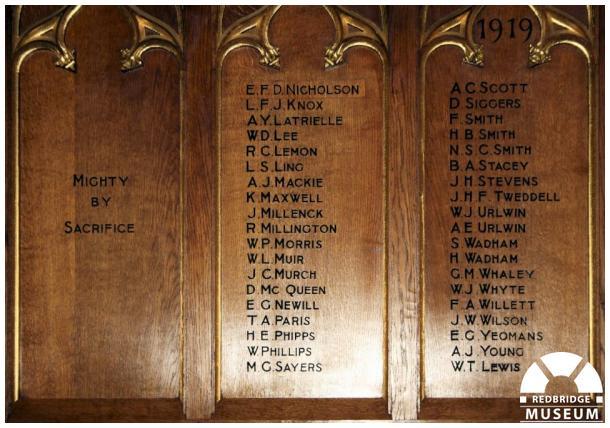 All Saints' Church Memorial Screen. Photo by Redbridge Museum.