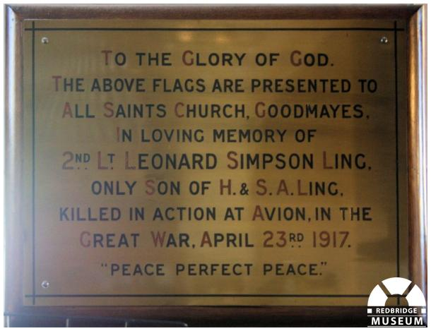 Leonard Simpson Ling Memorial Plaque. Photo by Redbridge Museum.