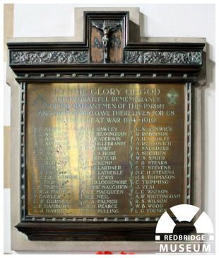 St Paul's Church Memorial Plaque. Photo by Redbridge Museum.