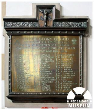 St Paul's Church Memorial Plaque. Photo by Redbridge Museum.