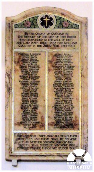 Holy Trinity Church Memorial Tablet. Photo by Pat O'Mara.