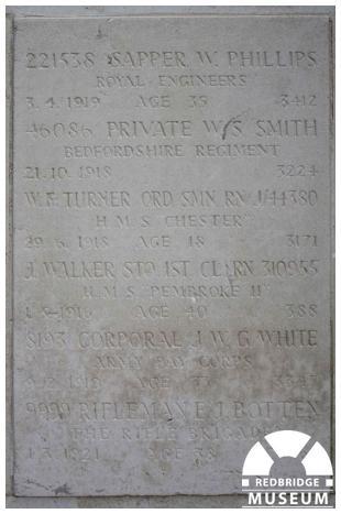 Buckingham Road Cemetery Memorial Cross and Tablet. Photo by Redbridge Museum.