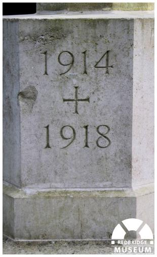 Buckingham Road Cemetery Memorial Cross and Tablet. Photo by Redbridge Museum.