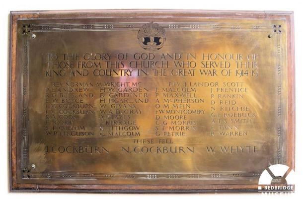 St Andrew's Presbyterian Church Roll of Honour. Photo by Trevor Cottrell.