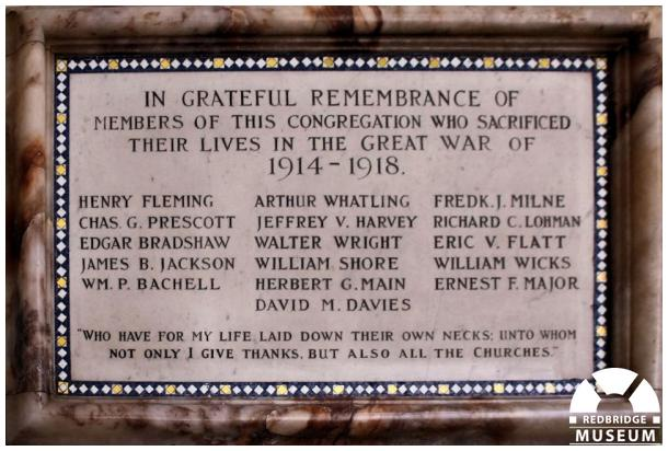 Ilford Baptist Church Memorial Tablet. Photo by Redbridge Museum.