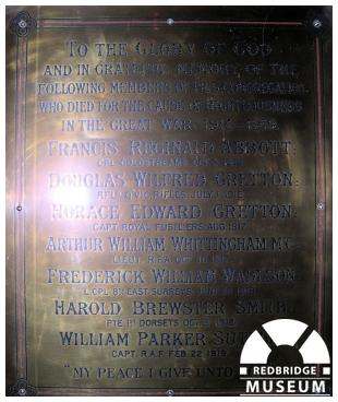 Goodmayes Congregational Church Memorial Plaque. Photo by Trevor Cottrell.