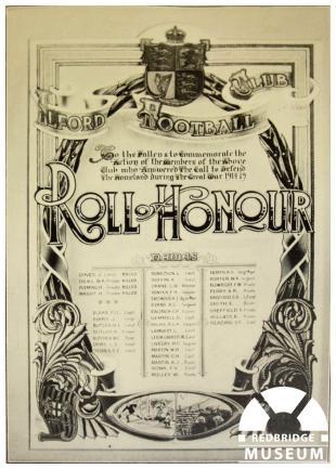 Ilford Football Club Roll of Honour. Photo by Redbridge Museum.