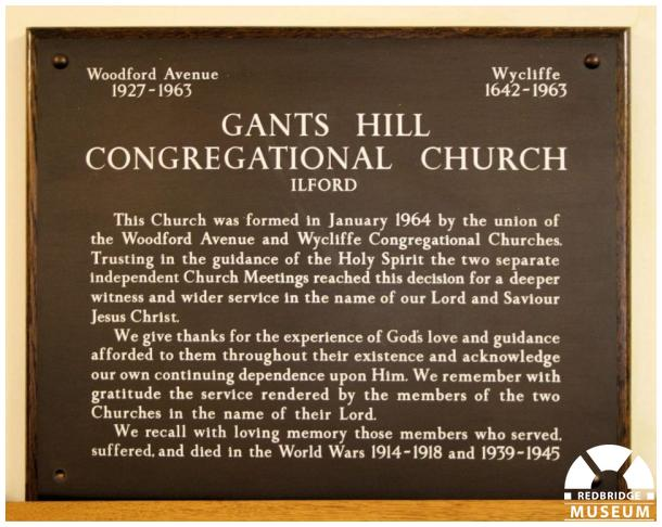 Gants Hill United Reformed Church Memorial Plaque. Photo by Redbridge Museum.