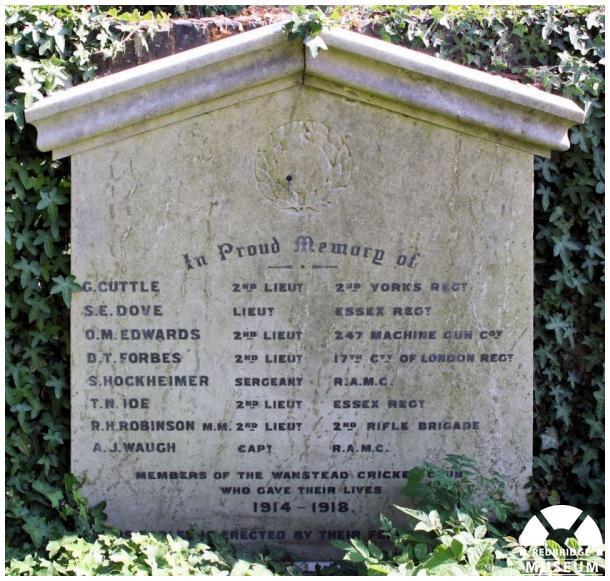 Wanstead Cricket Club Memorial. Photo by Redbridge Museum.