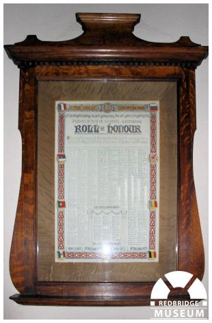 St Gabriel's Church Roll of Honour. Photo by Redbridge Museum.
