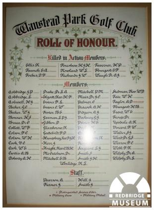Wanstead Golf Club Roll of Honour. Photo by Redbridge Museum.