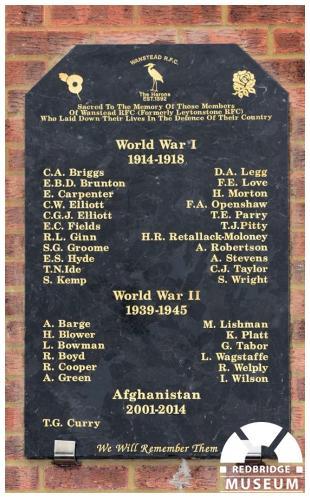 Wanstead Rugby Football Club Memorial Tablet. Photo by Redbridge Museum.