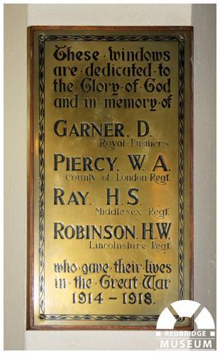 Wanstead Methodist Church Memorial Windows. Photo by Redbridge Museum.